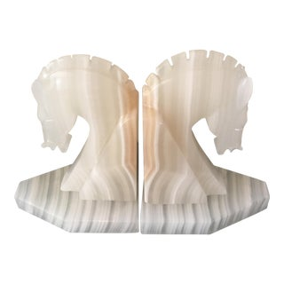 Vintage Alabaster Horse Bust Bookends - a Pair