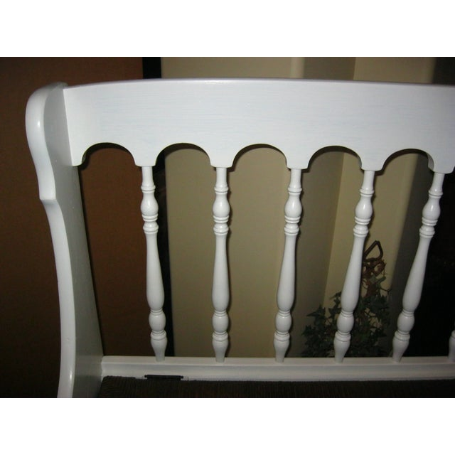 Tall-Back White Cottage Rush Seat Bench - Image 7 of 10