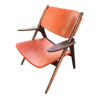 Mid Century Sawbuck Style Walnut Leather Chair