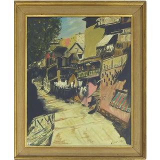 Kramer Oil Painting of Old World Street Scene