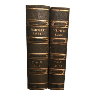 Antique Leather French Books Scripture