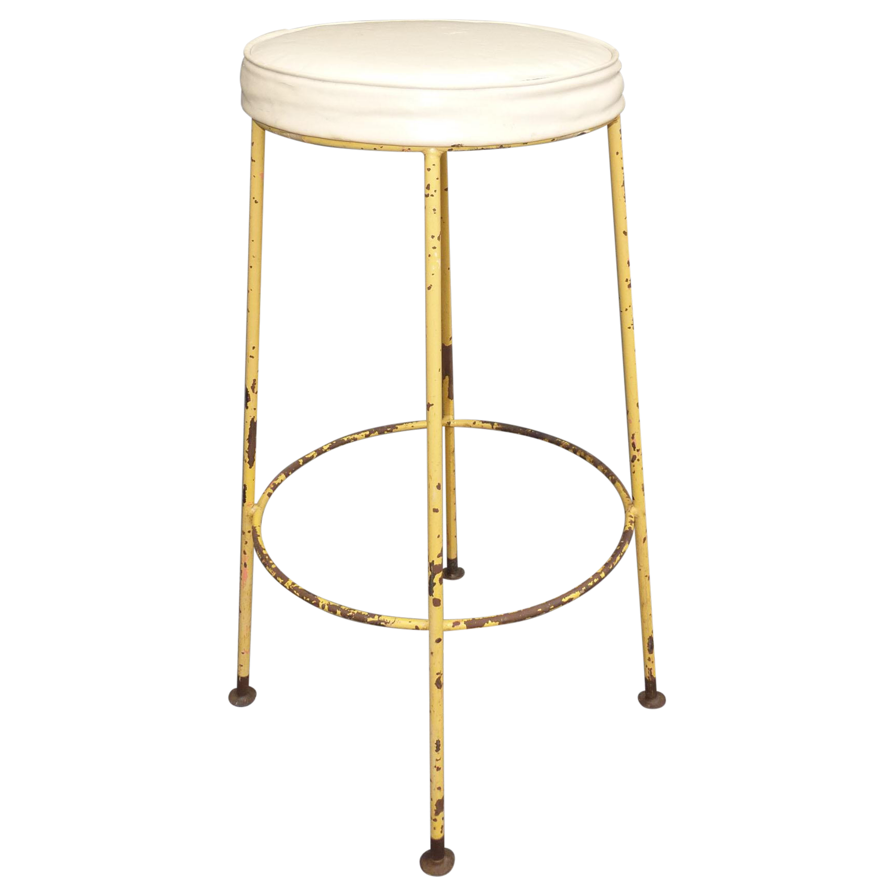 Vintage Yellow Metal amp White Vinyl Bar Stool Chairish : vintage yellow metal and white vinyl bar stool 6885aspectfitampwidth640ampheight640 from www.chairish.com size 640 x 640 jpeg 20kB