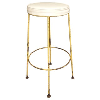 Vintage Yellow Metal & White Vinyl Bar Stool