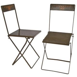 Prairie Style Folding Iron Chairs - A Pair