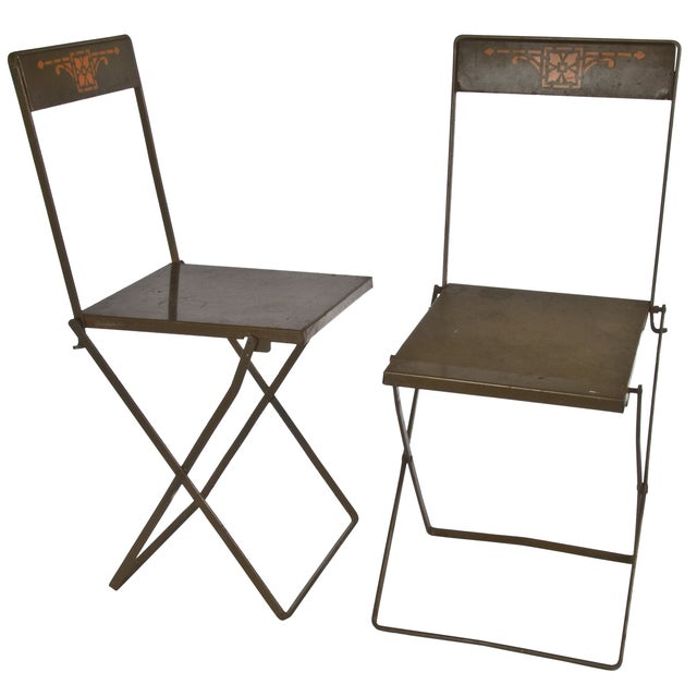 Image of Prairie Style Folding Iron Chairs - A Pair