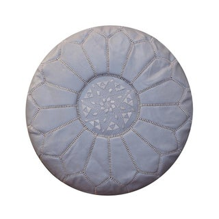 Gray Leather Moroccan Pouf