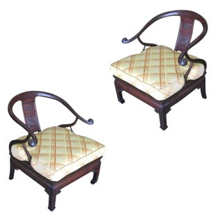 Pair of James Mont Style Horseshoe Lounge Chairs