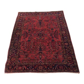 Antique Sarouk Wool Rug - 5′2″ × 6′4″