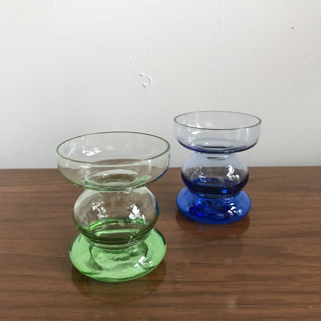 Image of Mid Century Glass Candle Stick Holders - a Pair