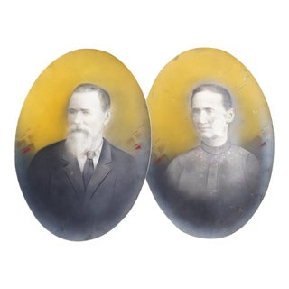 Antique Yellow Elderly Couple Portraits - a Pair