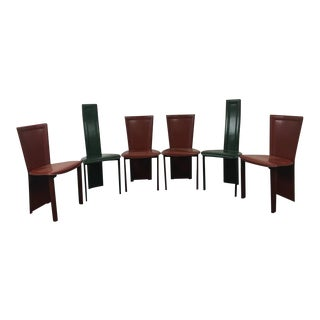 Contemporary Leather Upholstered Dining Chairs - Set of 6