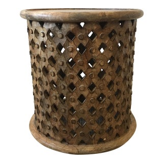 Tribal Carved Wood Side Table