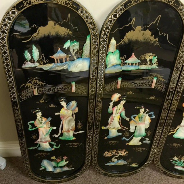 Image of Black Lacquered Asian Screen