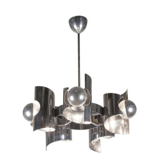 Stainless Steel Six Arm Chandelier, French 1960s