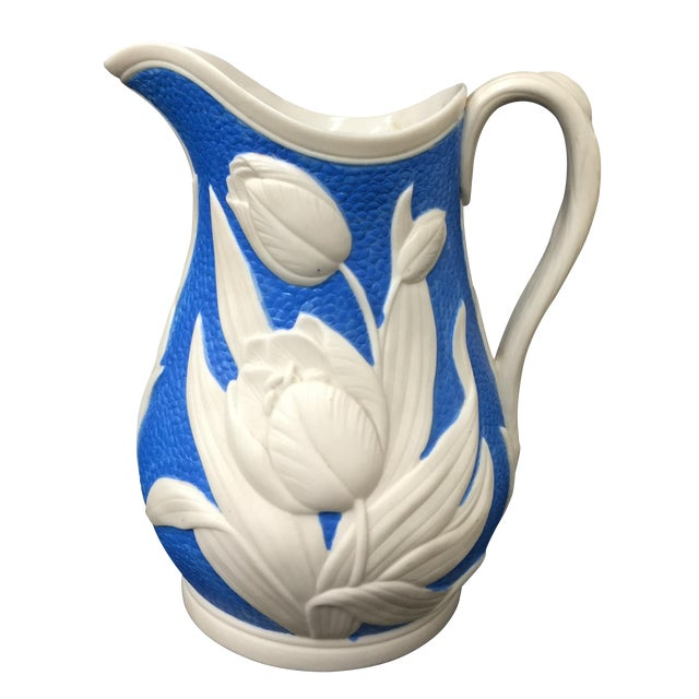 Image of 1850s Blue & White Tulip Relief Pitcher
