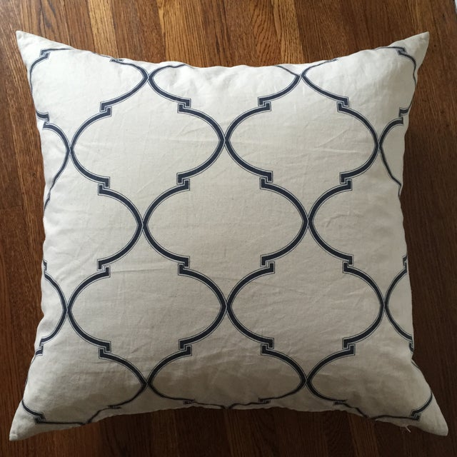 Blue and White Pillow Cover with Insert - Image 4 of 5