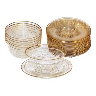 22-Piece Gilt Crystal Bowls & Saucers Set