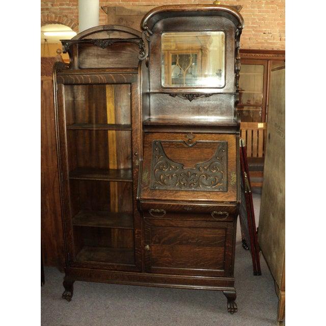 Antique Oak Secretary Desk Display Cabinet - Image 2 of 11 - Antique Oak Secretary Desk Display Cabinet Chairish