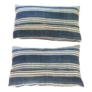 Vintage African Indigo Mud Cloth Pillows - A Pair
