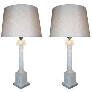 Pair of Classical Corinthian Marble Lamps