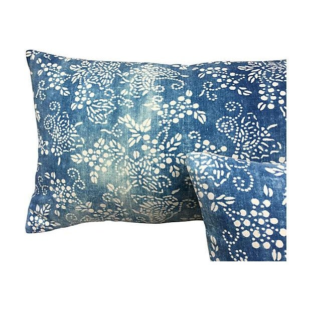 Faded Blue & White Batik Pillows - A Pair - Image 3 of 5
