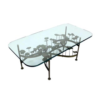 Mid-Century Modern Brass-Base Brutalist Coffee Table