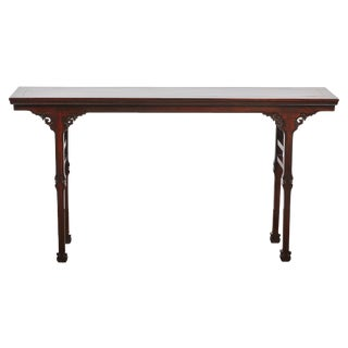 18th Century Chinese Poplar Wood and Red Lacquer Altar Table