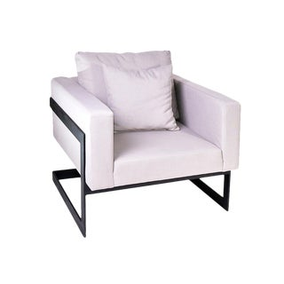 Iron & Linen Lounge Chairs - A Pair