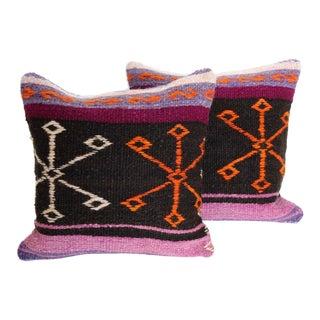 Vintage Turkish Kilim Cushions - Pair