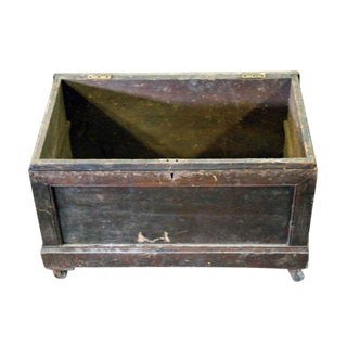 Antique Wooden Box on Wheels With Art Deco Hardware