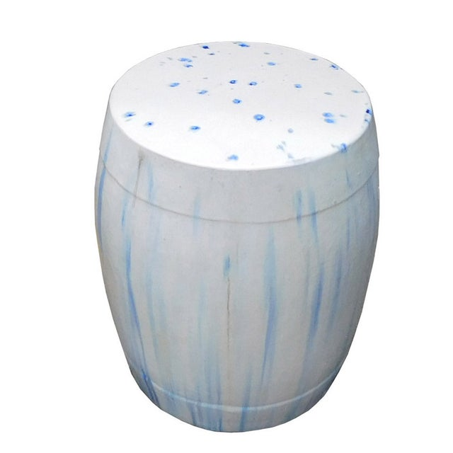 Chinese White & Blue Ceramic Garden Stool - Image 1 of 6