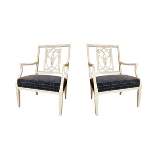 Gray Lacquered Blue Velvet Arm Chairs - a Pair