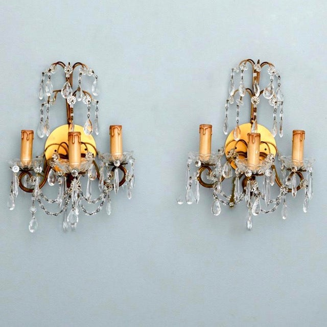 Pair of French Three-Arm Crystal and Brass Wall Sconces - Image 3 of 6