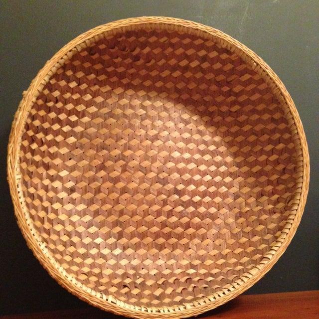 Image of Vintage Large Chinese Bamboo Wicker Basket