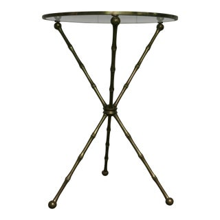 Vintage Brass Italian Faux Bamboo Gueridon Side Table