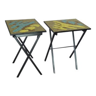 Pair of Organic Design Mosaic Glass Tile Top Fold up Tables