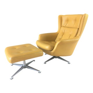Mid-Century Modern Lounge Chair & Ottoman in Citrine Yellow