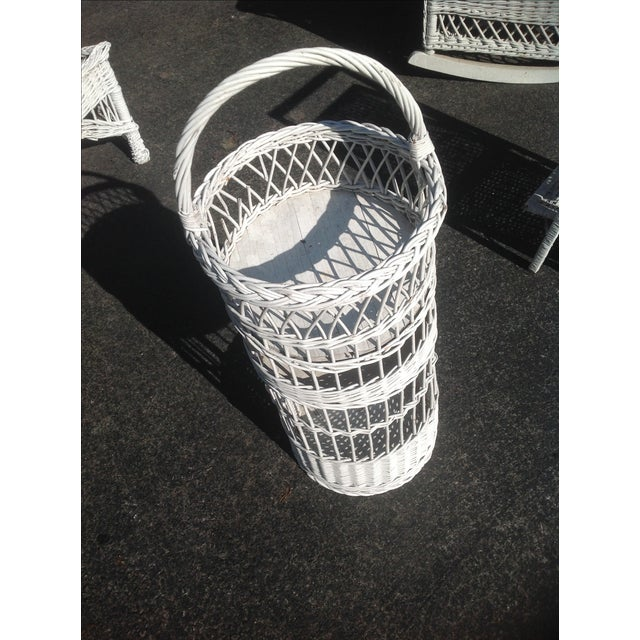 Vintage White Wicker Tiered Stand - Image 3 of 3