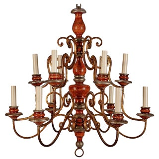 Vintage Italian 12 Light Painted Wood & Scrolled Gilt Metal Chandelier
