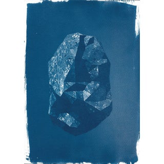 1 2 3 Digital Low-Poly Rock, Cyanotype Print on Watercolor Paper, A4 Size (Limited Edition)