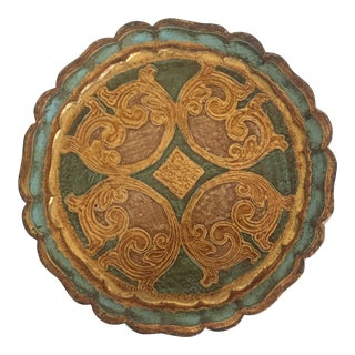 Vintage Florentine Toleware Gold Leaf Round Scalloped Serving Tray
