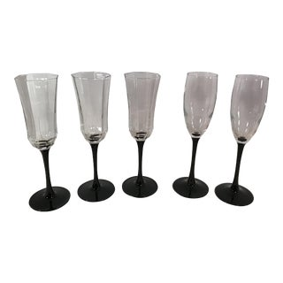 Franch Black Stem Champagne Glasses - Set of 5