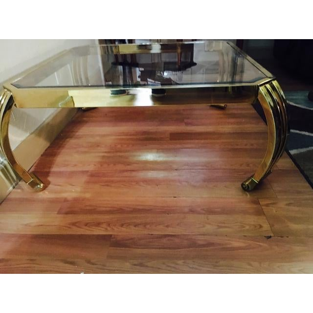 Glass Top Coffee Table From Karl Andersson: Karl Springer Brass And Glass Coffee Table