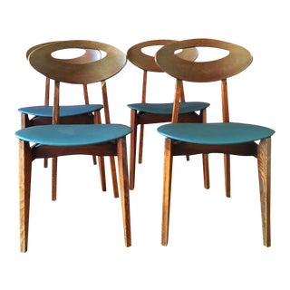 French Vintage Mid-Century Dining Chairs - Set of 4