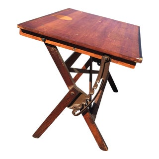 Vintage Industrial Wood & Cast Iron Tilt Top Drafting Table