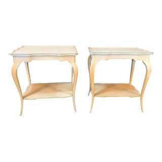 Distressed Paint Decorated Maison Jansen Side Tables or Night Tables - a Pair