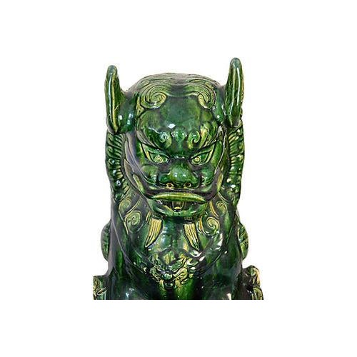 Vintage Grand Emerald Foo Dogs - S/2 - Image 6 of 7