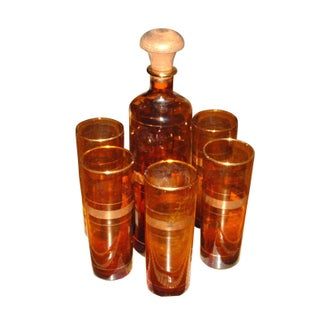 Vintage Dark Amber Barware Set