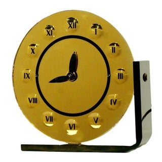 Gold Tone Glass Art Deco Clock by New Haven Clock