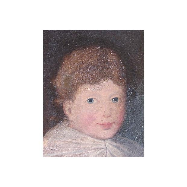 Antique 1827 Folk Art Portrait Painting of a Boy in Blue - Image 4 of 7